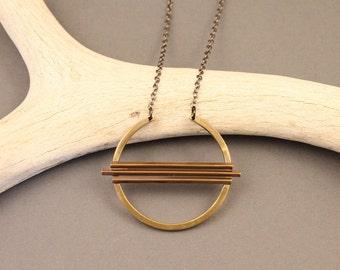 Equinox geometric brass circle necklace with gunmetal chain short- modern, minimalist, boho design