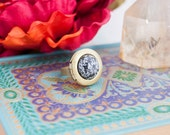 Snowflake Obsidian Brass Locket Ring