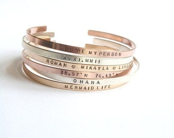 Rose Gold Personalized Bracelet,Personlized Mom Gift, Thin Gold Cuff, Custom Hand stamped,Grandma Gift,Stacking Bangle, Inspirational Bangle