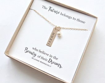 Graduation Gift, High School Graduation, Personalized Graduation Gift, Gold Bar necklace, 2017, Silver Bar Necklace