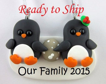 Ready to Ship Pregnant Couple Expecting Parents Penguin Christmas Ornament
