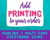 Libs Guest Book Sign - Add Printing To Your Order (Lib Signs Only)