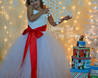 Wrapped Up in a Bow White Christmas Dress sizes 12-18m, 18-24m, 2t, 3t, 4t, 5t, 6