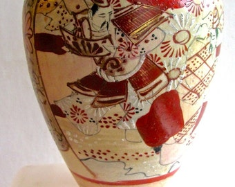 Antique Japanese Vase, Warriors, Red n Cream Vase, Seven inches, Pre-War Japan, Hand painted, Fine Art, Ceramics Collectors, Asian, Gift,
