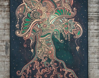 Tree of Life, indian art, yoga decor, henna mehndi zentangle ornament, home decor, canvas art, wall oriental decor