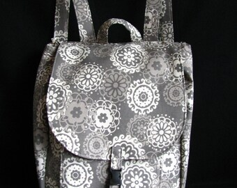 Large backpack- Gray floral print canvas