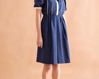 Silk tea dress // 80s // M size