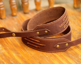 Two Toned Leather Banjo Strap with Antique Bronze Hardware