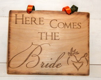 Wedding Signs, Here Comes the Bride Sign, Wedding Decoration Signs