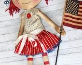 4th of July Patriotic Lucy Anne - Primitive Raggedy Ann Dolls (HAFAIR)