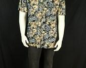 Men short sleeve button up Hawaiian shirt Tropical print vintage rayon shirt 90s men summer clothing Retro beach gray floral black shirt M