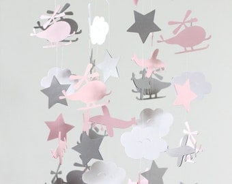 Airplane Nursery Mobile in Light Pink, Gray & White- Planes, Helicopters and Clouds