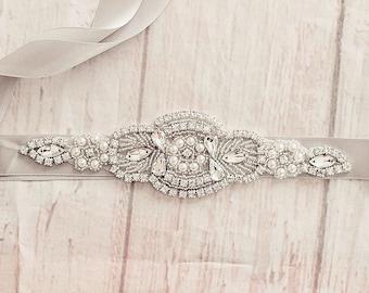 Gray Bridal Belt..Gray Flower Sash / Belt..Gray Bridal Sash / Gray Sash..Maternity Sash / Wedding Dress Sash