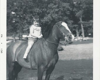 Best of October - Vintage 1960s Little Girl on Horse Photograph
