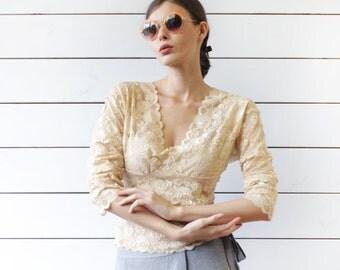 SISLEY vintage beige sheer lace mesh V neck back cut long sleeve blouse top