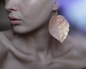 Handmade nude pink leather copper color block large oversized leaf earrings