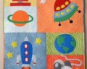 Rocket Into Outer Space, Appliqué Baby Boy Quilt, Free Shipping!