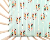 Crib Sheet Colorful Arrows on Mint. Fitted Crib Sheet. Baby Bedding. Crib Bedding. Minky Crib Sheet. Crib Sheets. Arrow Crib Sheet.