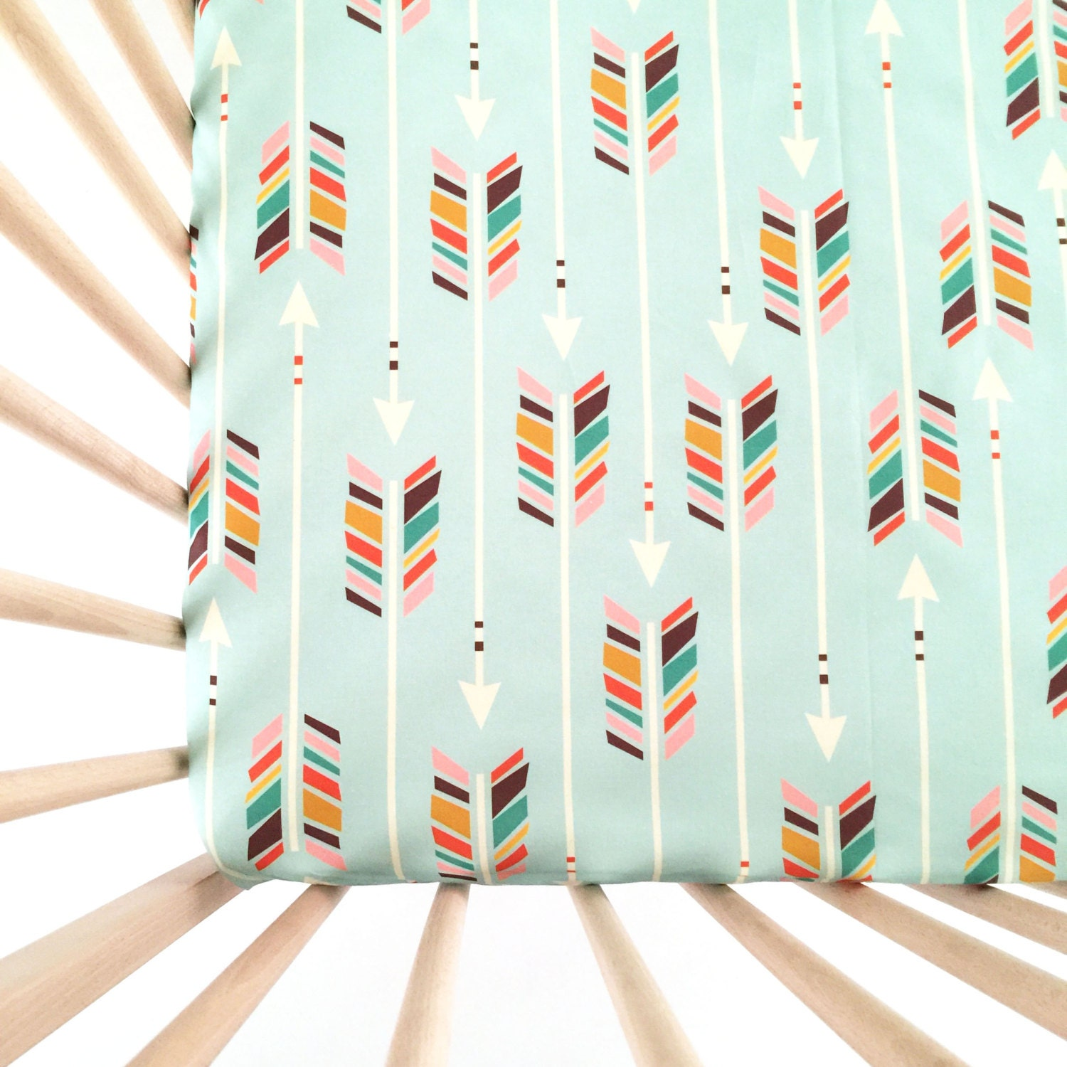 crib sheet colorful arrows on mint fitted crib sheet baby. Black Bedroom Furniture Sets. Home Design Ideas