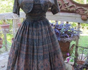 Tiki Time 1950's Novelty Hawaiian Batik Tiki Sun dress w bolero XS
