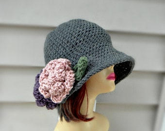 Grey Crochet Hat with Roses, FLapper style Hat For Women, Winter Crochet Hat, Womens Beanie with Flowers