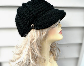 Black Newsboy Hat Crochet Black Hat Newsboy Hat With Button Fashion Accessories