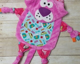 Kitty Tab Blanket - Kitty Lovey - Ribbon Blanket - Crib Sensory Toy - Animal Blanket
