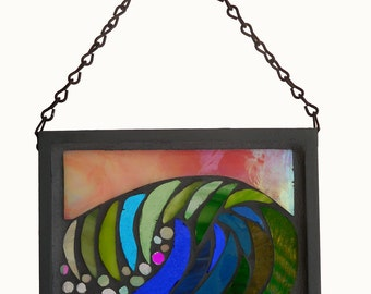 Stained Glass Mosaic Window Art: Full Wave