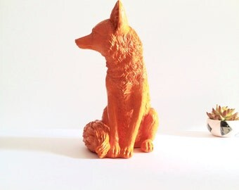 "ORANGE Large Fox animal statue faux fox / nursery decor / woodland / table top decor / cabin decor / Large statue 13.5 "" tall / kids room"