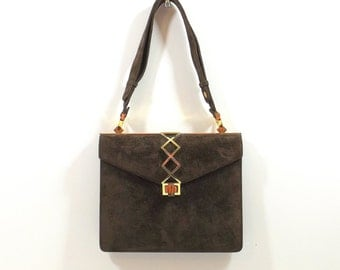 NETTIE ROSENSTEIN Brown Suede Shoulder Bag