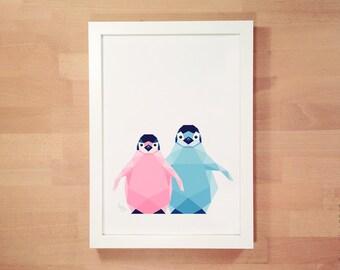 New baby room art, Penguin baby print, Baby penguins, Art for twins, Art for siblings, Geometric art, Polar bear, Print for baby, Soft blue