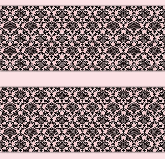 Pink black damask wallpaper border wall art decal girl nursery for Black white damask wallpaper mural