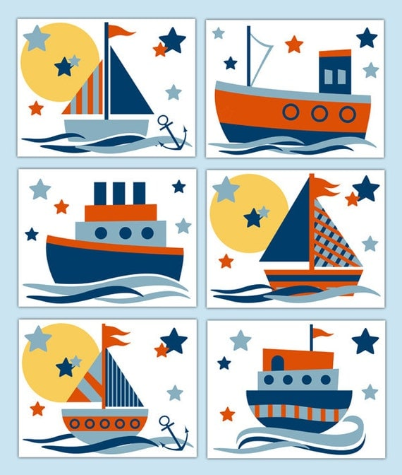 Nautical nursery prints wall art boy sailboat sail boat decor for Baby room decoration wallpaper