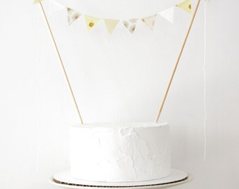 Moon & Stars Cake Topper - Fabric Cake Bunting - Wedding, Birthday Party, Baby Shower Decor angel white metallic gold cream dots sunburst