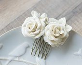 Ivory rose hair comb - wedding hair accessories - bridal hairpiece - bridal flower comb - wedding rose hair piece - rose hair accessories