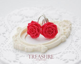 Red rose earrings, red roses earrings, red flower earrings, red floral earrings, red earrings, red flowers, rouge, rosa, red roses, red rose