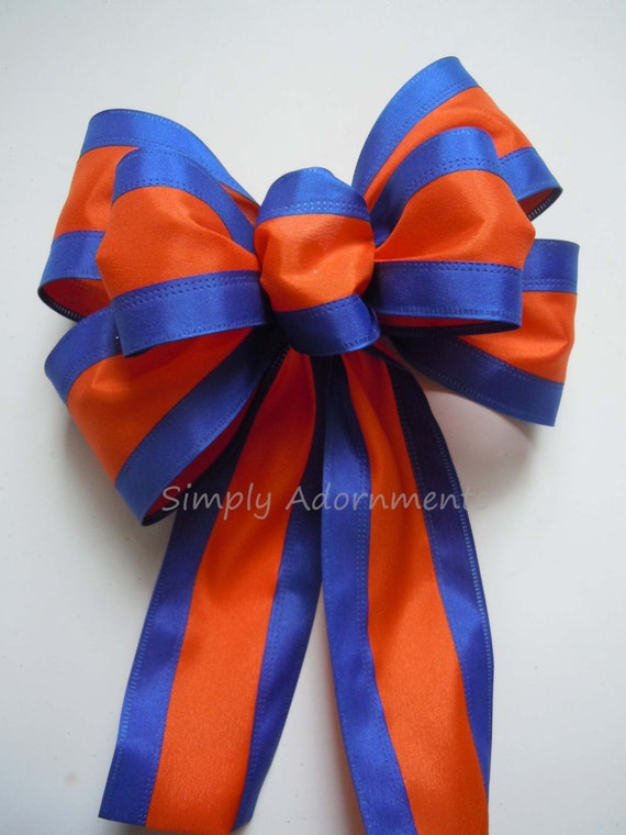 Blue Orange Wreath Bow Denver Broncos Wreath Bow UVA Grad Party Decoration Blue Orange Door Hanger Bow