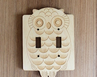 Wood Laser Cut Owl Light Switch Plate / Cover (double switch)