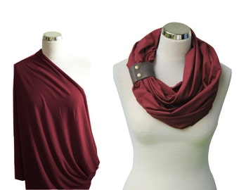 Nursing cover with a leather cuff, Maroon nursing scarf with a cuff, Breastfeeding Cover, Nursing Infinity Scarf