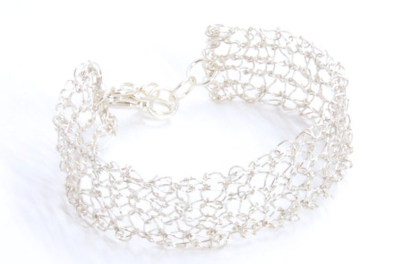 Silver Bracelet - Silver Cuff Bracelet - Wire Knit Jewelry - Adjustable Wire Cuff - Mesh Bracelet - Bridal Jewelry - Adjustable Bracelet