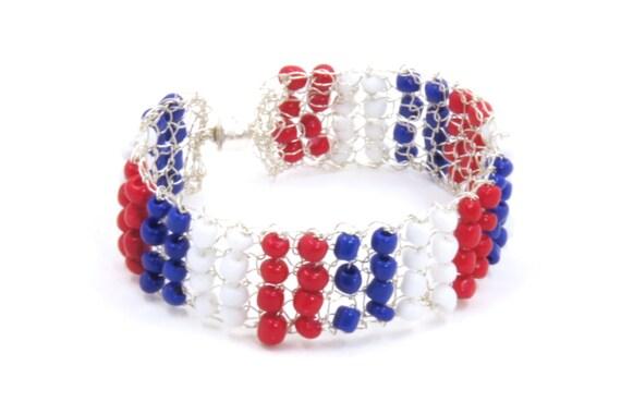 4th of July Jewelry - Patriotic Bracelet - Silver Mesh Bracelet - Beaded Silver Bracelet - Knitted Bracelet - Patriotic Cuff Bracelet