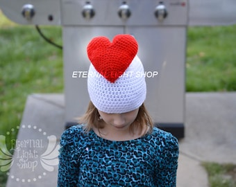 ALL SIZES/COLORS Heart Beanie Crochet