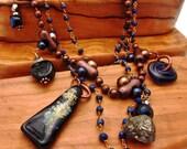 Glass, Lapis, Pyrite Necklace