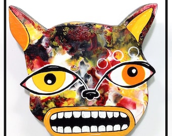 Outsider Folk Art Cat Head, Ugly Cat, Comical Hand Painted Cat Wall Hanging, Abstract Cat Wood Wall Art, Outsider Cat by Windwalker Art