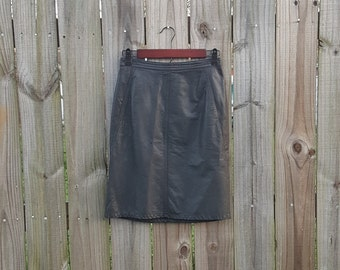 Vintage 80s Black Leather Mini Back Zipper High Waisted Tarazzia Made in Dominican Republic Sexy Grunge Goth Emo Alternative Skirt