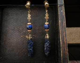 Vintage Earrings, Art Deco Carved Lapis and Coral Earrings 14k c. 1920, Antique Earrings, Edwardian Earrings, Downton Abbey