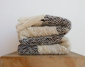 Organic wool blanket, Striped Undyed black and white wool sheep handwoven blanket, Natural eco home decor, Chunky knit blankets