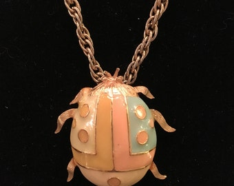 1970's Enamel Beetle Pendant Necklace