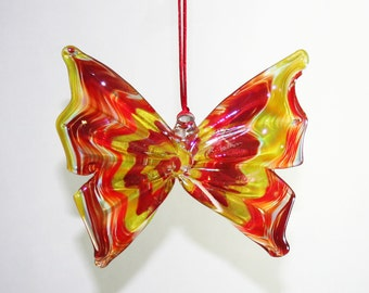 Hand Blown Glass Butterfly Ornament/Suncatcher - Iridescent Red, Yellow and Orange