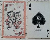 Collectible Vintage Shabby Chic Kittens Swap Card | Ace of Spades | Playing Card